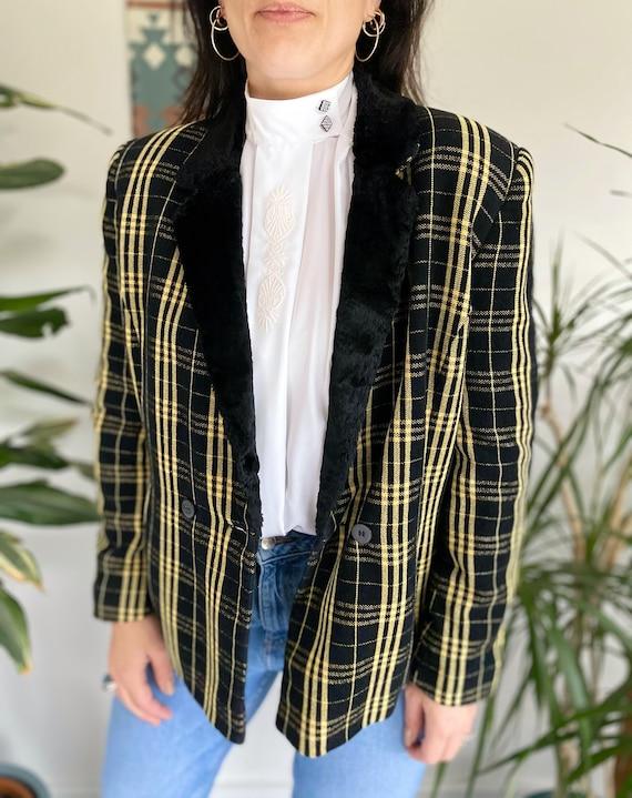 Vintage 90s Jacket, Tartan Jacket, Yellow Tartan … - image 8