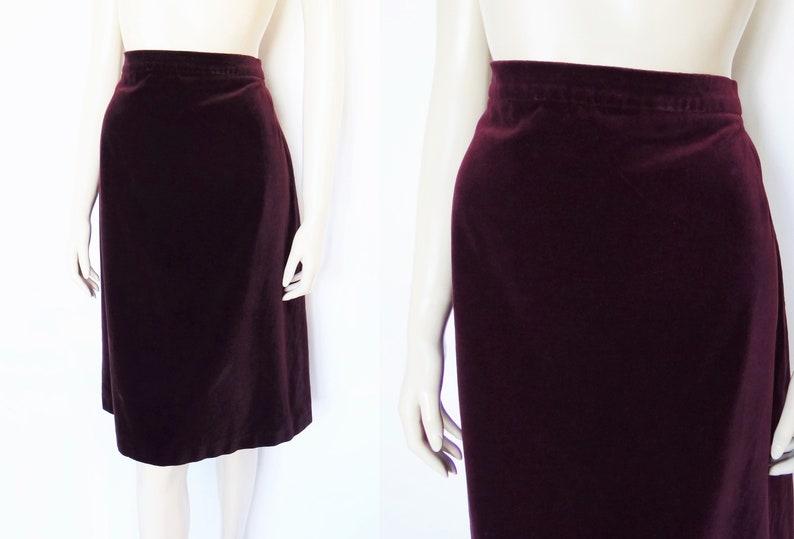 Vintage Skirt Velvet Skirt UK16 Christmas Skirt Red Velvet Skirt Plus Size Velvet Skirt Ladies Clothing Plum Skirt Women/'s Vintage