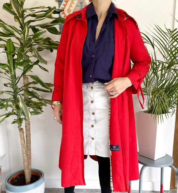 Red Vintage Trench Coat, UK10, Red Trench, Vintage