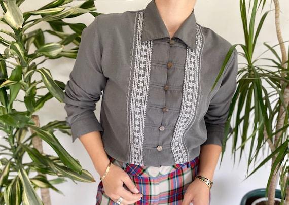 90s Grey Shirt, Ethnic Shirt, Women's Vintage Shir
