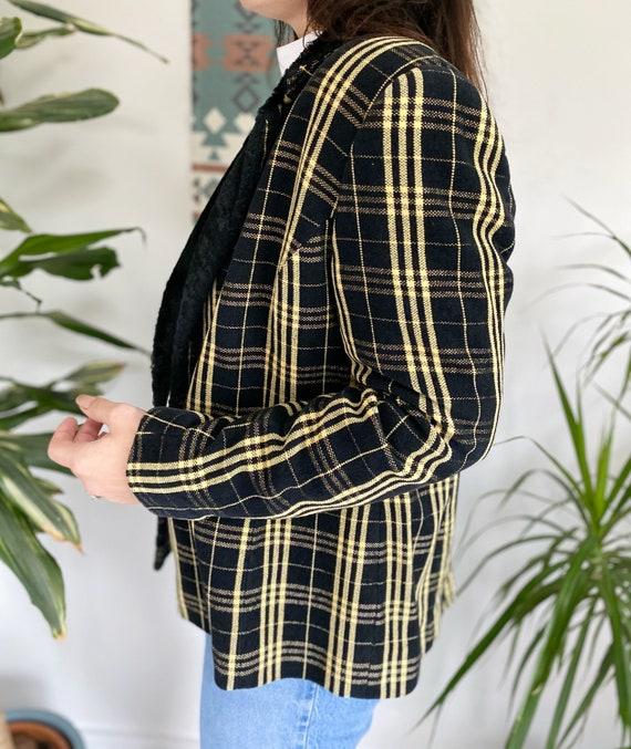 Vintage 90s Jacket, Tartan Jacket, Yellow Tartan … - image 4