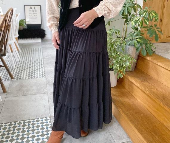 Laura Ashley Black Broomstick Skirt, UK10-12, Laur