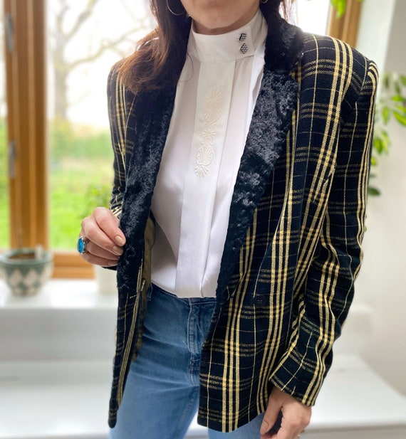 Vintage 90s Jacket, Tartan Jacket, Yellow Tartan … - image 5