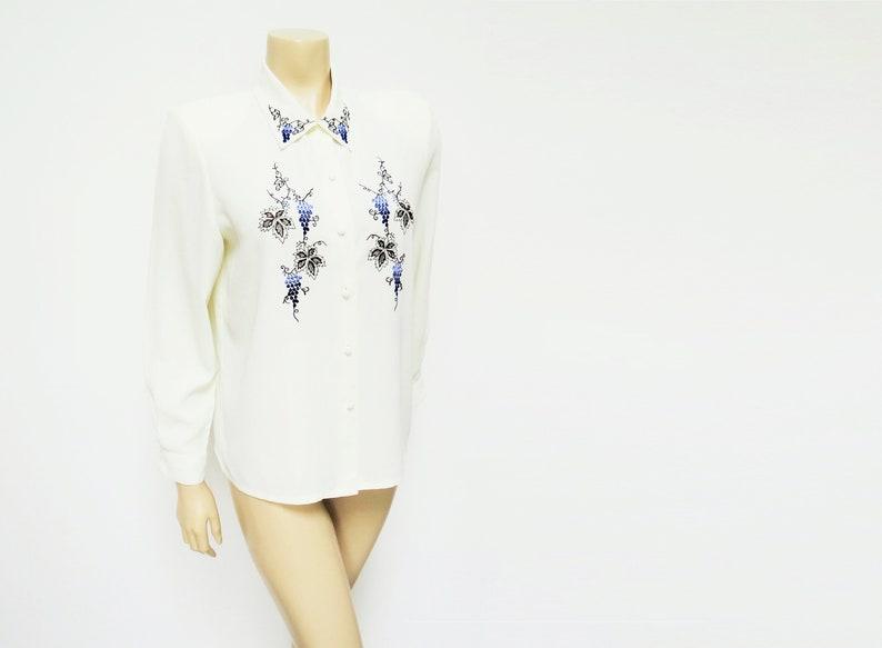 Work Shirt Cream Ladies Blouse Size 10 90s Secretary Shirts Vintage Blouse Formal Folk Top Vintage Womenswear Embroidered Blouse