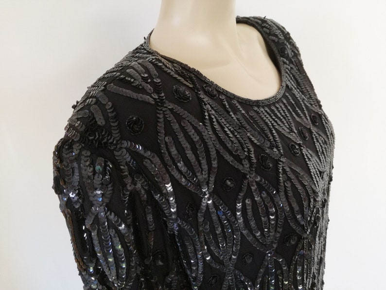 Eveningwear Sequin Black Top Womenswear Vintage Vintage Top Bohemian Plus Size Clothes Black Sequin Top UK24 Plus Size Clothing