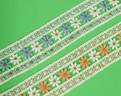 1 3 8 quot Daisy Floral Lace Trim,trim by the yard,white embroidered colorful lace trim,orange and blue lace trim,doll clothes,sewing. (LC20071)