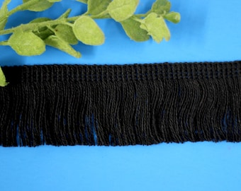 """2 yards of 2"""" Black Fringe Trim Cotton/Blankets/pillows/home decor,sewing projects/costume designs/accessories/decorative fringe."""