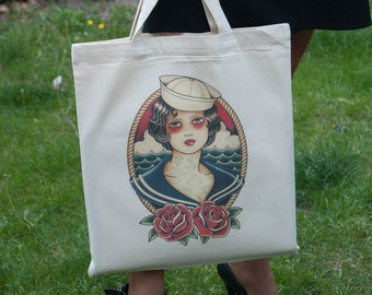 Old School Tattoo Tote Bag, Sailor Girl, Cotton Tote Bag, Pinup Tote Bag, Vintage Tattoo Tote, Gifts for Her, Tattoo bag, Canvas tote bag