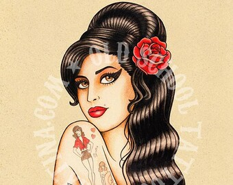 Amy Winehouse. Old School Tattoo print.