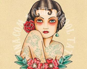 Tattooed Woman. Old School Tattoo print.
