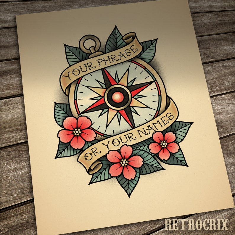 Custom Compass Rose tattoo print Personalized Old School image 0