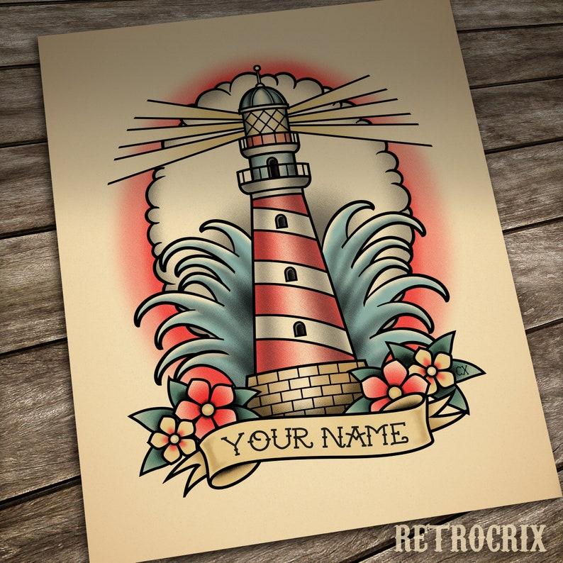 Custom name tattoo print Custom Lighthouse tattoo image 0