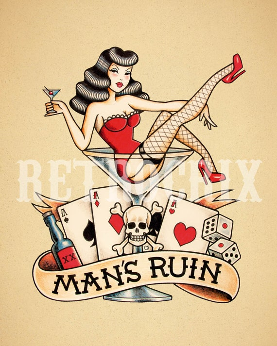The Ruin Of Men Old School Tattoo Art Tattoo Instant Etsy
