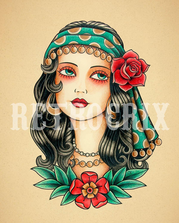 Gypsy Woman Tattoo Print. Old School Tattoo Print. Tattoo