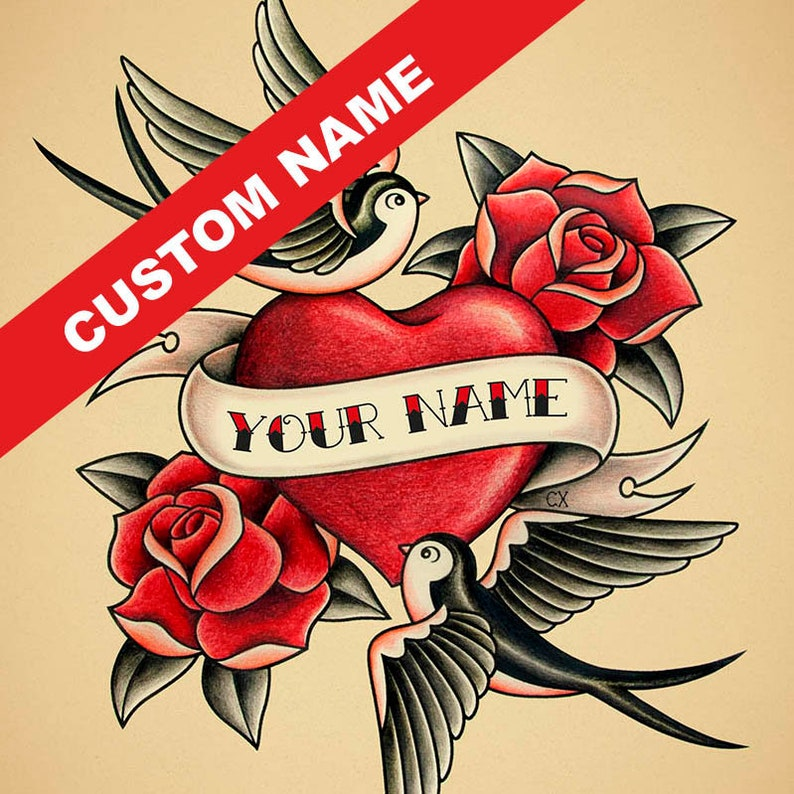 Benutzerdefinierte Herz Namen Tattoo Print Personalisierte Etsy