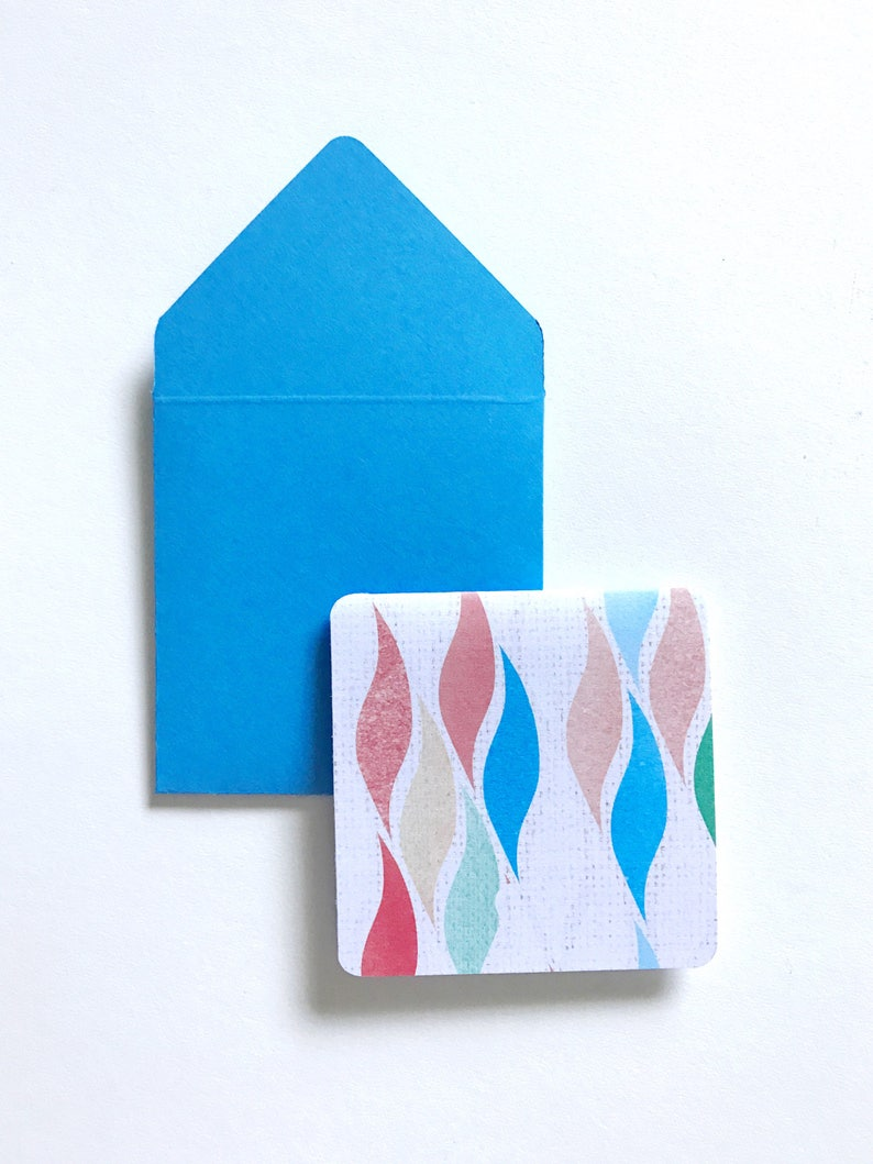 small stationery cards gift tags with envelopes square cards wave cards Mini note cards 3x3 cards blank mini cards card enclosures