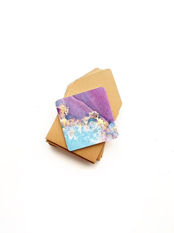 cute galaxy stationery 3x3 note cards with envelopes mini space greeting cards galaxy stationary Galaxy note cards tiny blue envelopes