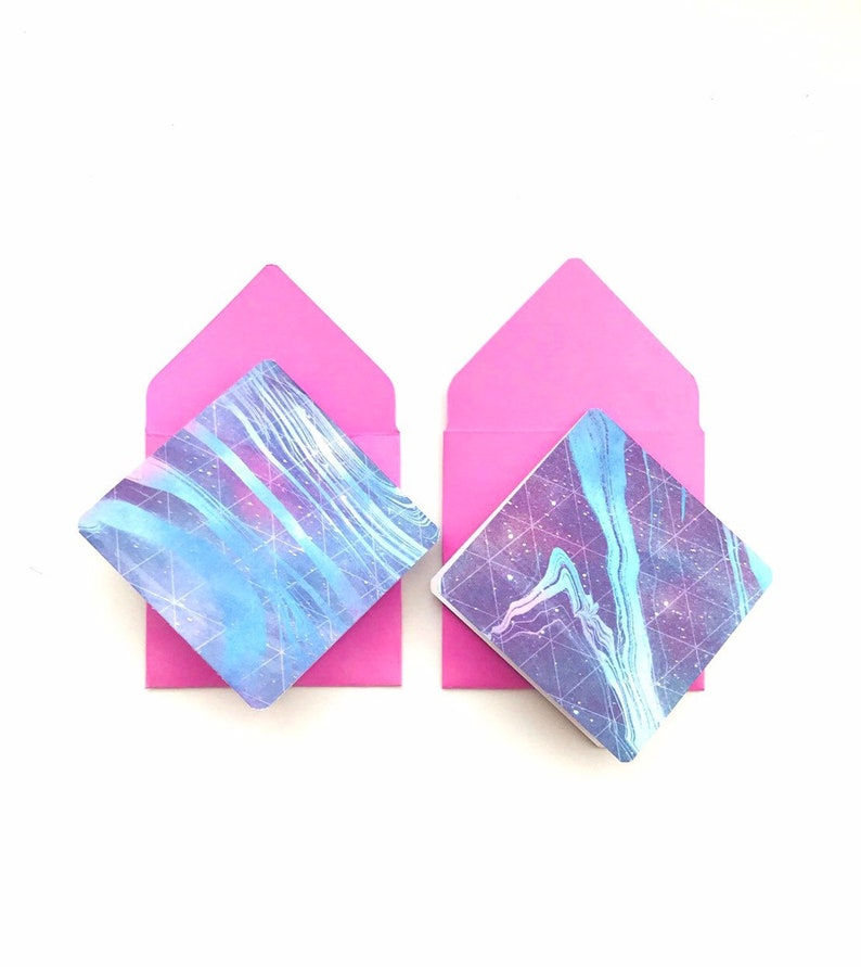 tiny blue envelopes 3x3 note cards with envelopes cute galaxy stationery galaxy stationary Galaxy note cards mini space greeting cards