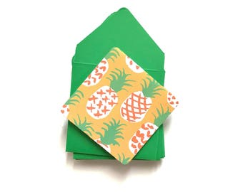 Pineapple stationery, pineapple mini cards, blank stationary cards, gift tags with envelope, pineapple gift tags, stationery set, 3x3 cards