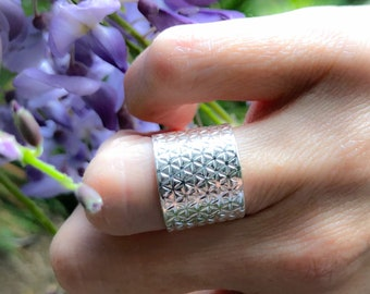 Sterling Silver Wide Patterned Band