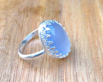 Natural Blue Chalcedony and Sterling Ring