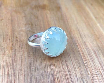 Prehnite and Sterling Ring