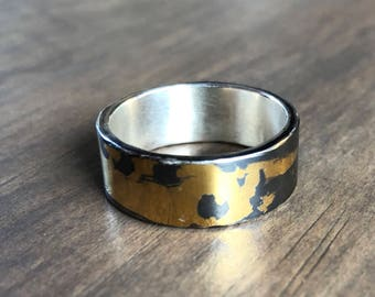 Men's Sterling Silver and 24k Gold Band Ring size 10