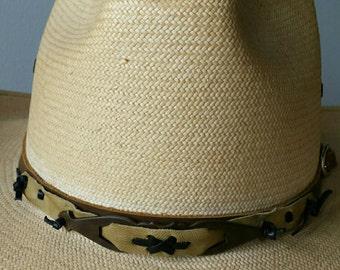 Deerskin hat band with repurposed drawer handle