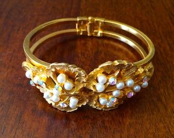 Vintage Pearl & Rhinestone Hinged Cuff Bracelet, Goldtone