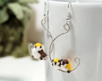 birds on their perch, boho, Bohemian, poetic jewelry, linen thread and brass earrings