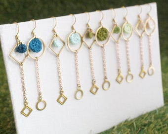 pendant Creole asymmetrical brass linen poetry green or blue tones mom and babies To choose from Bird earrings on their perch
