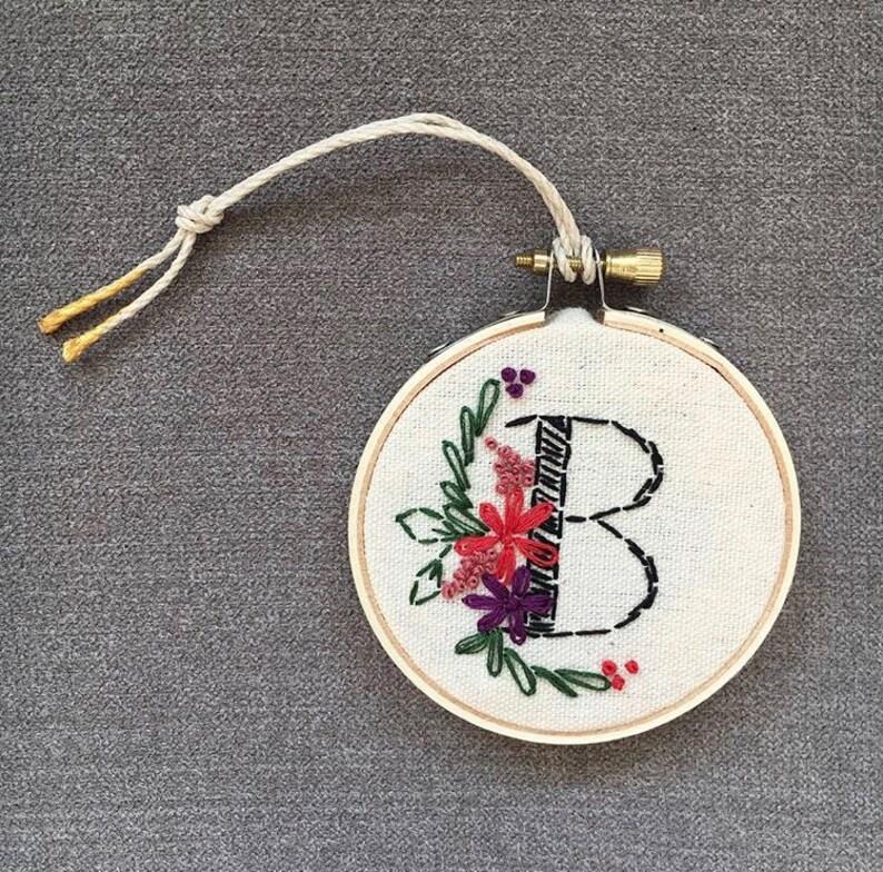 Custom Monogram embroidered 3\u201d hoop ornament