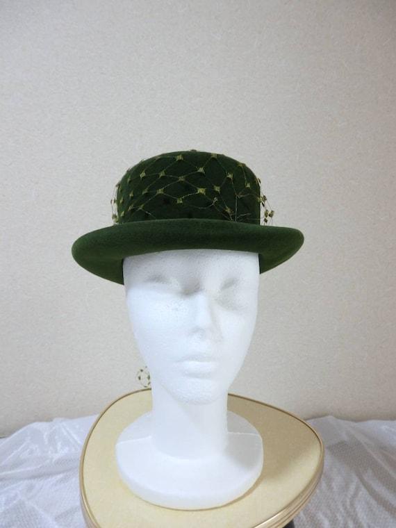 1940s hat/ 40s Olive green felt hat with chartreu… - image 6