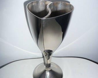 Rare Silver Split Heart Goblets Wedding Anniversary Engagement Celebration Wine Glass Centrepiece