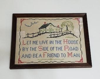 Vintage Handmade Folk Art Saying Needlepoint with Wooden Frame Americana