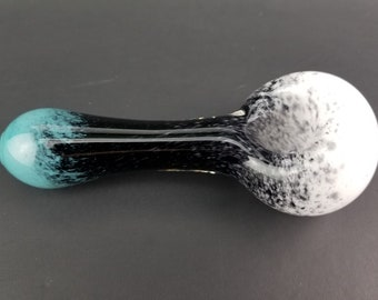 Teal, Black and White Glass Spoon Tobacco Pipe