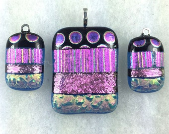 Purple-Pink-Teal- Silver Dichroic Glass Pendant and Earring Set