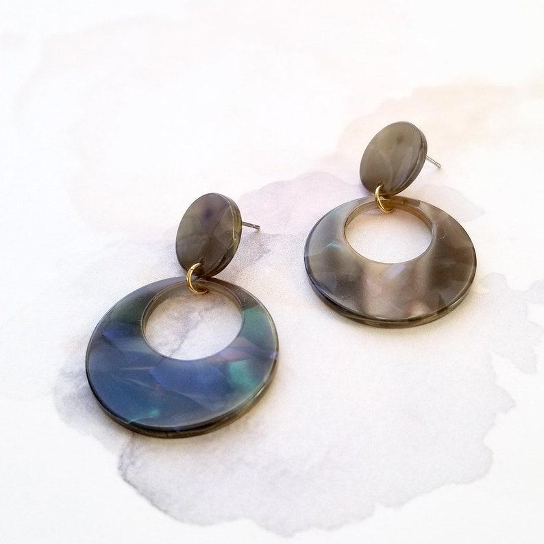 5481a7f49 Kinsley Dark Gray Tortoise Dangle Earrings Round Drop | Etsy