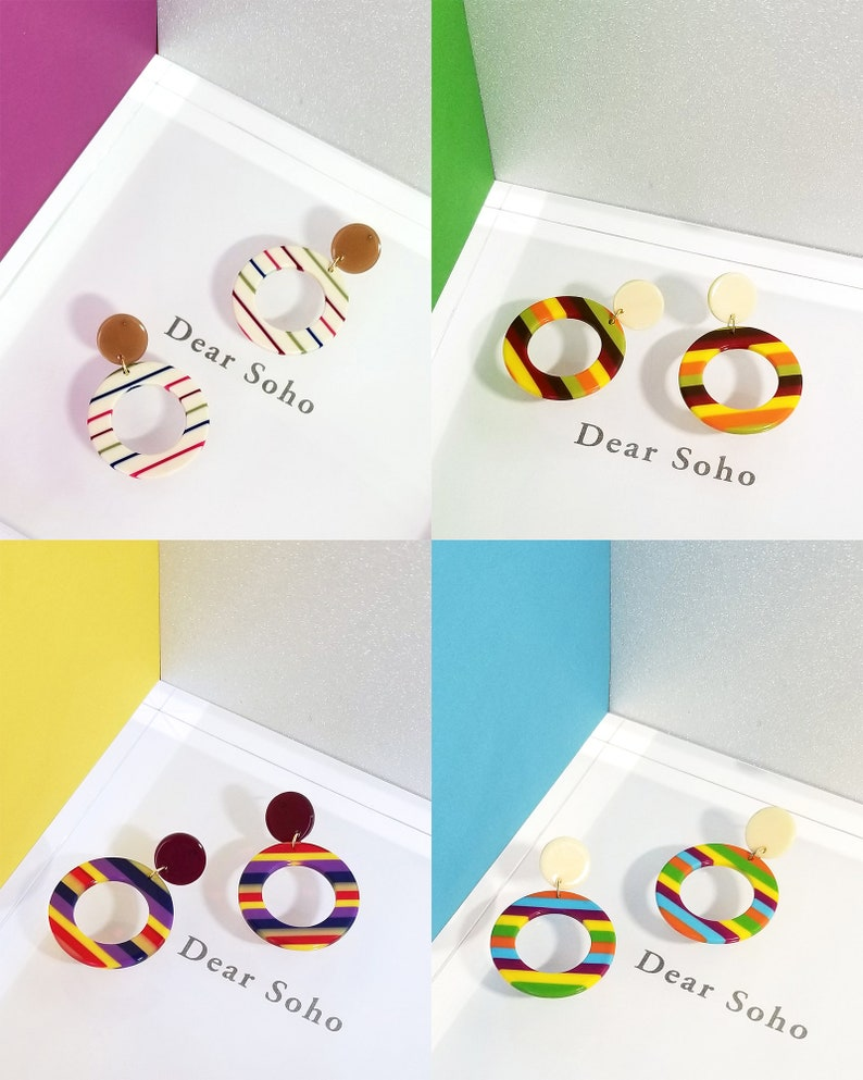 Resin Statement Earring Acetate Dangle Earrings 2019 Spring Summer Limited Edition Carly Nautical Multi Color Striped Circle Drop Earrings