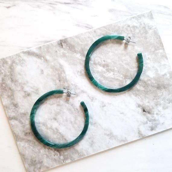 Peacock Green Hoop  Earring, Simple Minimalist Tortoise Earrings by Etsy