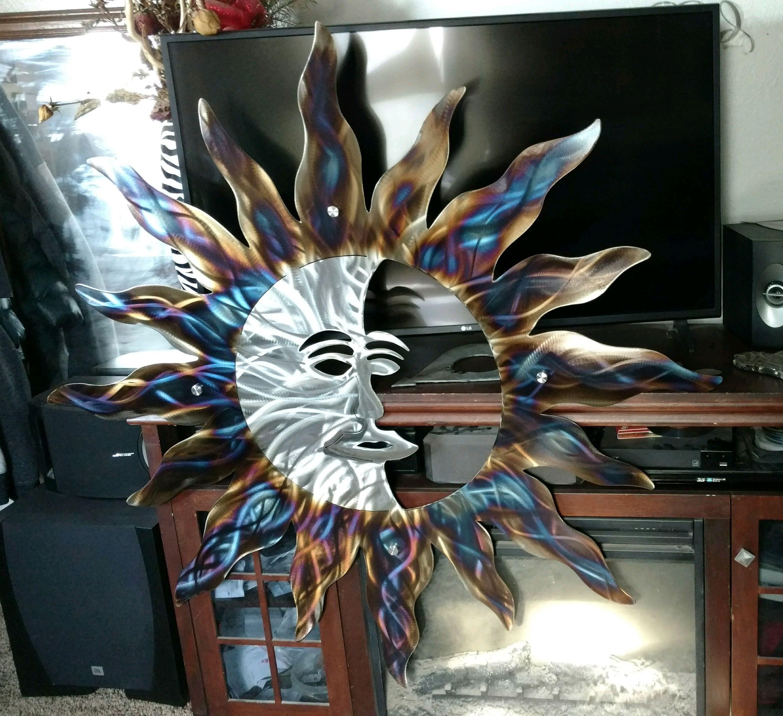 Rustic Sun Indoor Outdoor Wall Decor Recycled Steel Sun Custom Large Sun Etsy Handmade Metal Art Sun With Moon