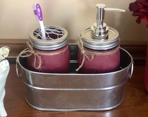 Rustic Bathroom Tray, Mason Jar Bathroom Decor, Soap Dispenser and Toothbrush Holder