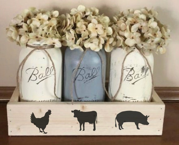 Cow Pig Chicken Mason Jar Centerpiece