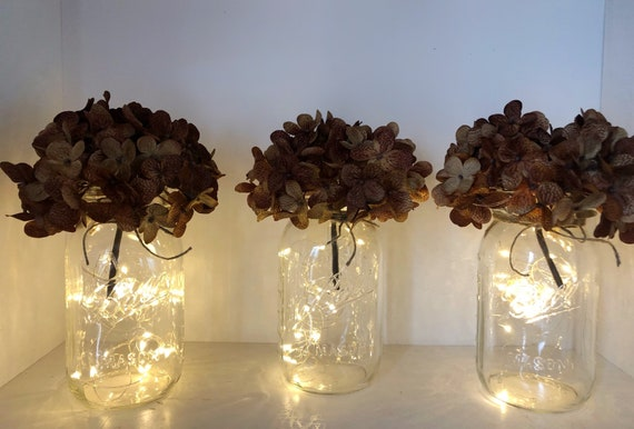 10 Floral Lights Mason Jar Centerpieces, Fairy Lights, Rustic Wedding Decorations, Baby Shower Decor, Country Party Decorations, Sweet 16