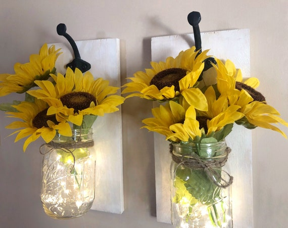Sunflower Mason Jar Wall Sconces, Set of 2