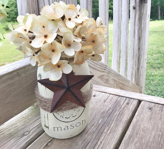 Rustic Barn Star Mason Jar Flower Vase