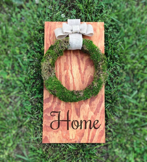 "Home Sign with Wreath, Moss Wreath with Burlap Ribbon, 24""x12"""
