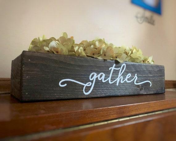 Gather Centerpiece, 16 inch Wood Planter Box, Hydrangea Decorations