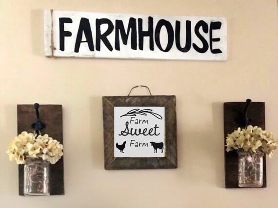 Farmhouse Wall Decor Set, Mason Jar Sconces, Farm Sweet Farm Sign, Farmhouse Sign, Rustic Living Room Decorations