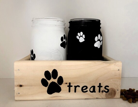 Pet Treat Jar Storage, Mason Jar Decor, Doggie Treats, Rustic Home Decoration, Paw Prints, Kitchen Counter Decorations, Jars with Box